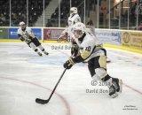 Trenton Golden Hawks defenceman moves puck up ice in big game v Cobourg.