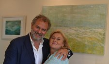With old chum Hugh Bonneville in front of Distant Pier and Rough Seas at the opening of the BetterBody Physio clinic (cerebral palsy specialists).  He lent his prescence and me my art. Summer 2015