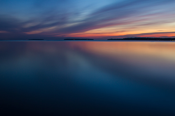 Three islands at dawn