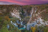 Great Waterfall in autumn dawn, National Park Plitvice Lakes, Croatia