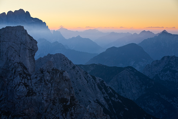 Layers of Julian Alps seen from Mangart pass, Slovenia