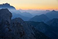 Layers of Julian Alps seen from Mangart pass, Slovenia