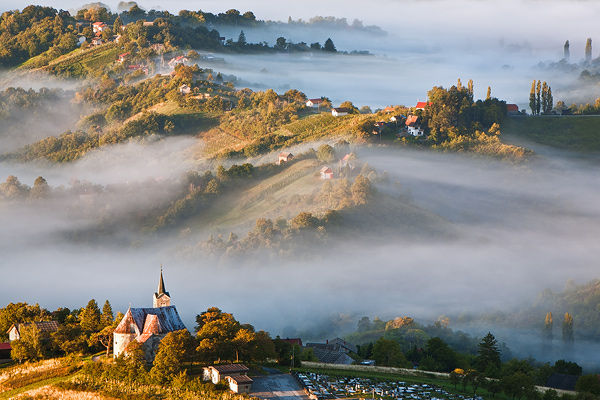 Autumn's veil under Plesivica hill, Croatia