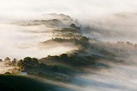 Plesivica wine road in autumn's fog, Croatia