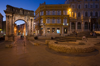 Arch of the Sergii -ancient Roman triumphal arch in town Pula, Istria, Croatia