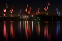 Light show in the shipyard of Pula city, Istria, Croatia