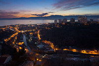 Town Rijeka in the evening, Kvarner, Croatia