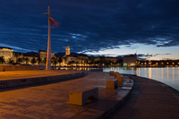 Split city waterfront in dawn, Dalmatia, Croatia