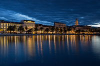 Split city seafront at dawn, Dalmatia, Croatia