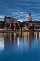 Waterfront of town Split in blue dawn; Dalmatia, Croatia