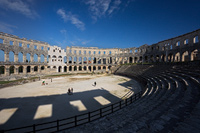 Inside the Roman Arena in town Pula, Istria, Croatia