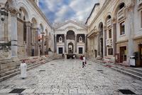 Peristyle square in the center of town Split, Dalmatia, Croatia