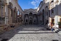 Famous Peristyle square in the center of town Split, Dalmatia, Croatia