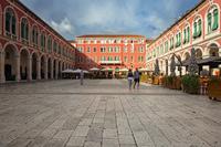 Famous square Prokurative in the center of town Split, Dalmatia, Croatia