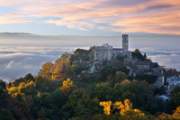 Autumn dawn breaks behind place Zavrsje, Istria, Croatia