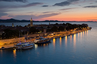 Zadar city old town at dusk, Dalmatia, Croatia