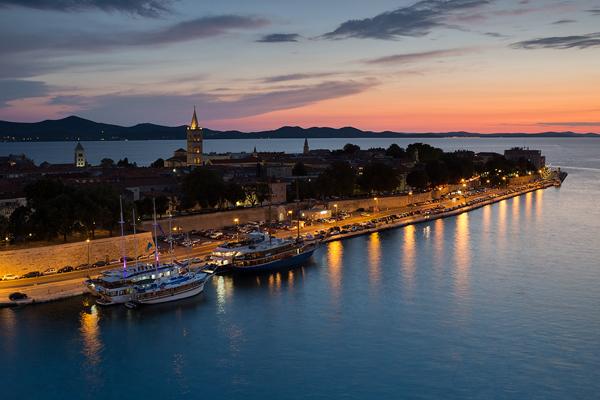 Zadar city old town at dusk, Dalmatia, Croatia