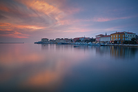 Sunset over town Porec, Istria, Croatia