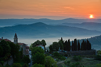 Motovun town is waking up, Istria, Croatia