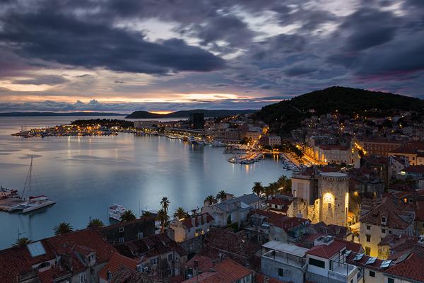 Bay of town Split at dusk, Dalmatia, Croatia