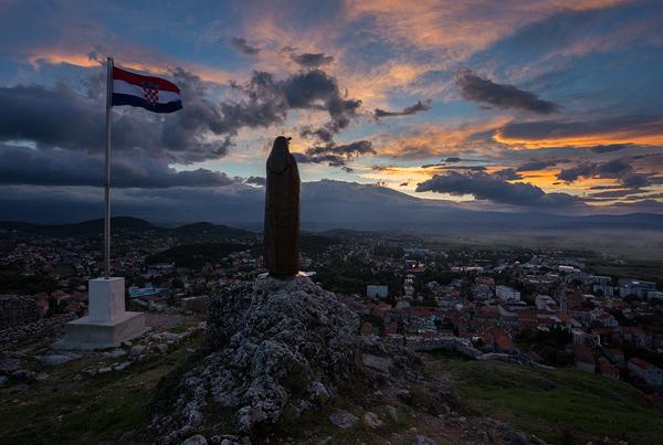 Statue of Miraculous Lady of Sinj guarding the town Sinj, Dalmatia,Croatia