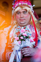Man dressed up as a bride during carneval in Zagreb, Croatia