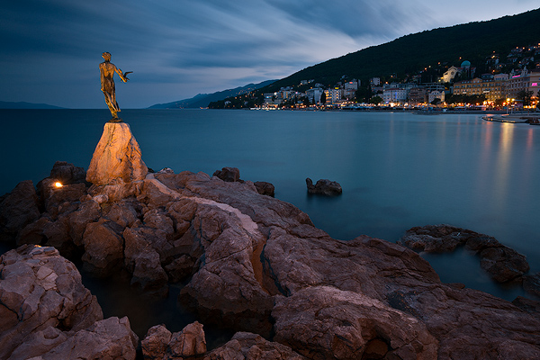 Opatija town in blue hour, Kvarner, Croatia