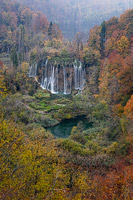 Waterfall Big Fizzler in autumn, National Park Plitvice Lakes, Croatia