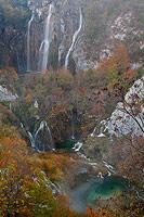 Big Waterfall autumn luxury, National Park Plitvice Lakes, Croatia
