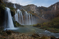Waterfall Sastavci in autumn dawn, National Park Plitvice Lakes, Croatia