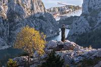 "Folk heroine ""Mila Gojsalic"" statue in front of town Omis and river Cetina delta, Dalmatia, Croatia"