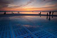 Sunset above the Greeting to the Sun-photovolt instalation in Zadar, Dalmatia, Croatia