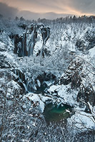 Great Waterfall covered with snow, National Park Plitvice Lakes, Croatia