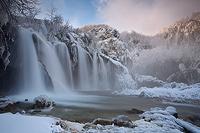 Waterfall Sastavci in winter dawn, National Park Plitvice Lakes, Croatia