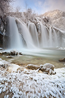 Freezy dawn under Sastavci waterfall, National Park Plitvice Lakes, Croatia