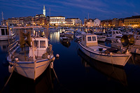 Rovinj port in dawn, Istria, Croatia
