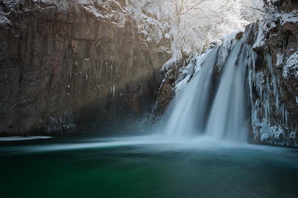 River Korana's first waterfall in winter, National Park Plitvice Lakes, Croatia