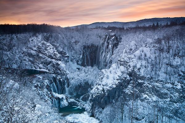 Great Waterfall's winter sunset magic, National Park Plitvice Lakes, Croatia