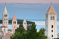 4 church towers of the town Rab, island Rab, Kvarner, Croatia