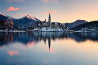 Winter dawn on lake Bled, Gorenjska, Slovenia