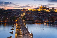 "Amazing ""Charles bridge"" in the old city Prague at dusk, Czech Republic"