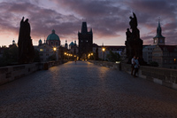 Dawn above Charles bridge in Prague, Czech Republic