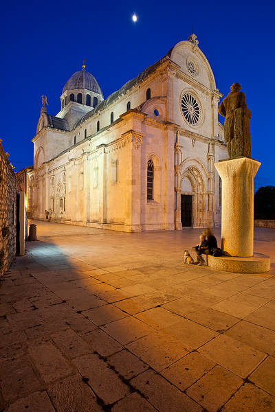 Full moon above the St Jacob's Cathedral in Sibenik, Dalmatia, Croatia
