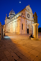 Full moon above the St Jacob's Cathedral in Sibenik, Dalmatia, Croatia