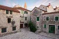 Square Skor in sunset, town Stari Grad, island Hvar, Dalmatia, Croatia