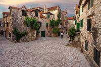Sunset above Stari Grad town, island Hvar, Dalmatia, Croatia