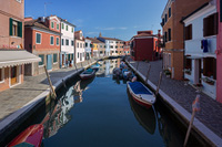 Channel on the famous island Burano, Italy
