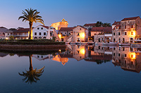 Dawn above port in Vrboska, Island Hvar, Dalmatia, Croatia