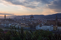 Sunset above the town Florence in Tuscany, Italy