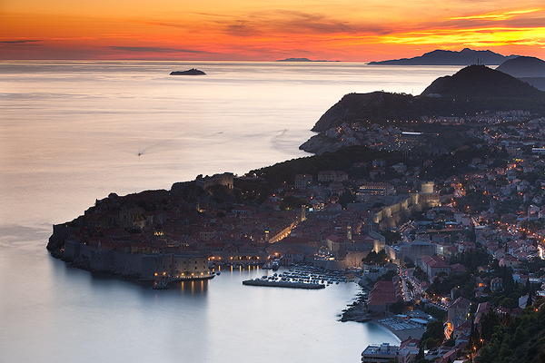 Dubrovnik port at dusk, Dalmatia, Croatia